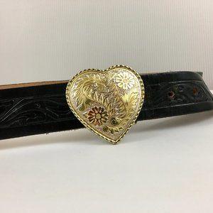 Vintage Tooled Black Leather Belt Heart Buckle